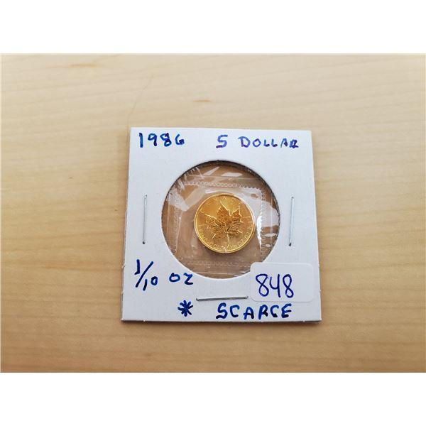 1986 5 dollar fine gold .9999 1/10 oz