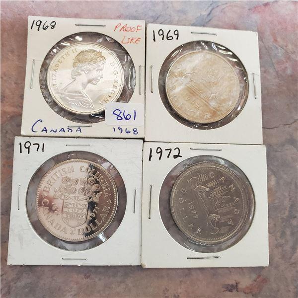 4 canadian nickel dollars 1968, 69, 71, 72