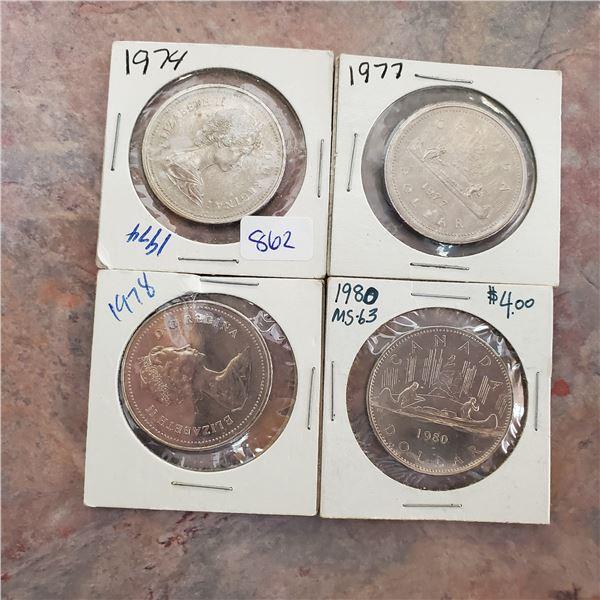 4 canadian nickel dollars 1974, 77, 78, 80