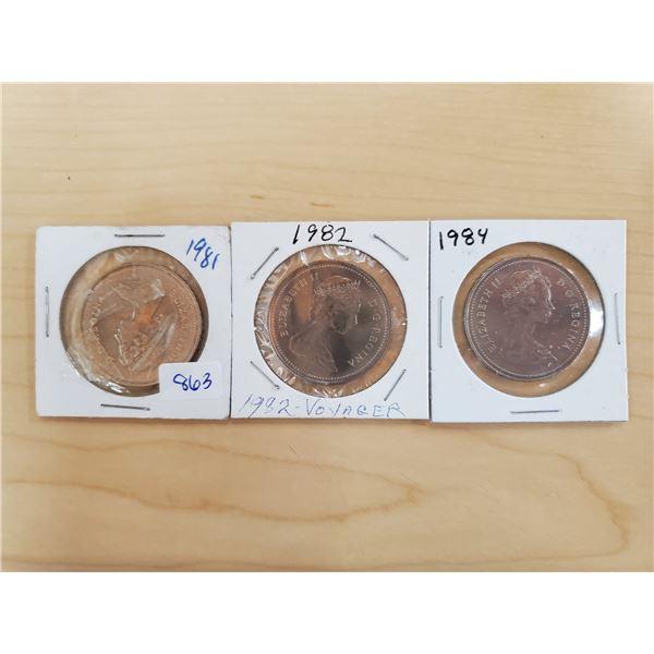 3 Canadian nickel dollars 1981, 1982, 1984