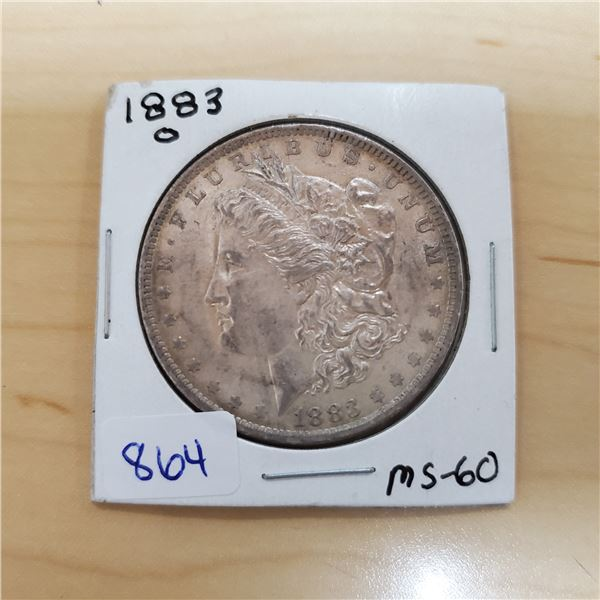 1883 O Morgan silver dollar MS-60