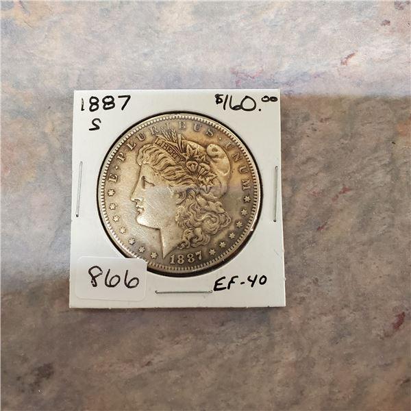 1887 S Morgan silver dollar EF-40