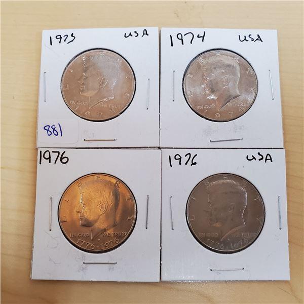 1973, 74, 76 X 2 JFK half dollars