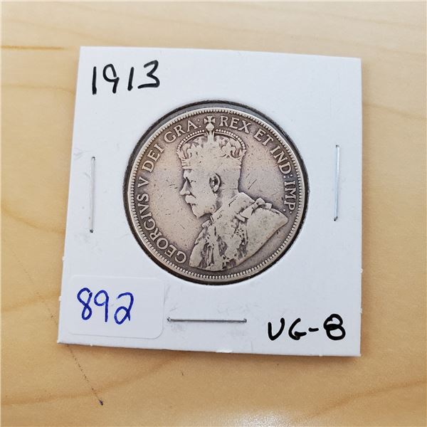 1913 canada 50 cents vg-8