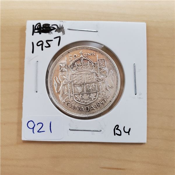 1957 canada 50 cent bu
