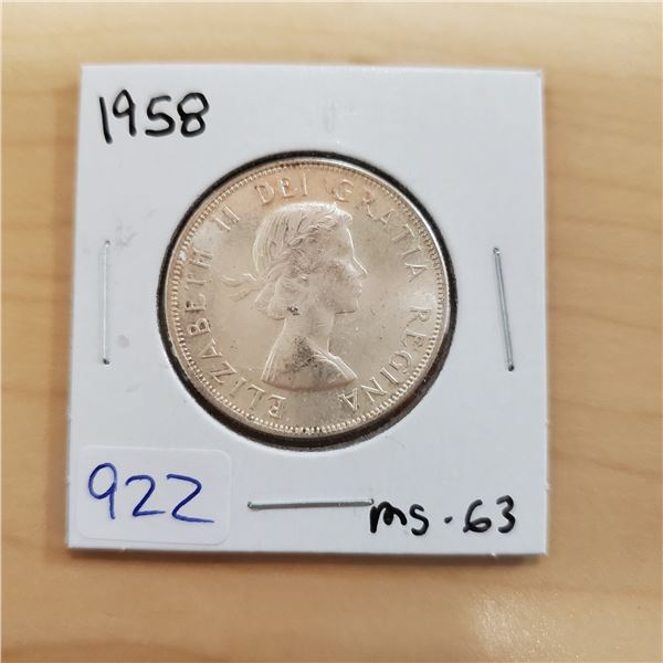 1958 canada 50 cent ms-63