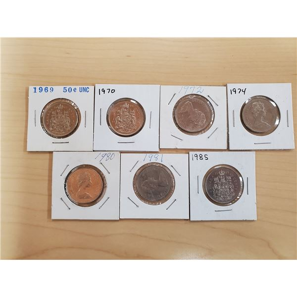 7 x canada 50 cents 1969, 70, 72, 74, 80, 81, 85