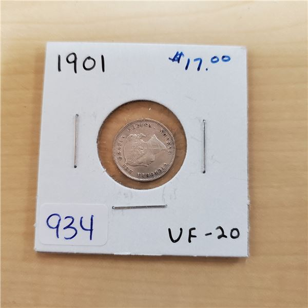 1901 canada 5 cents vf-20