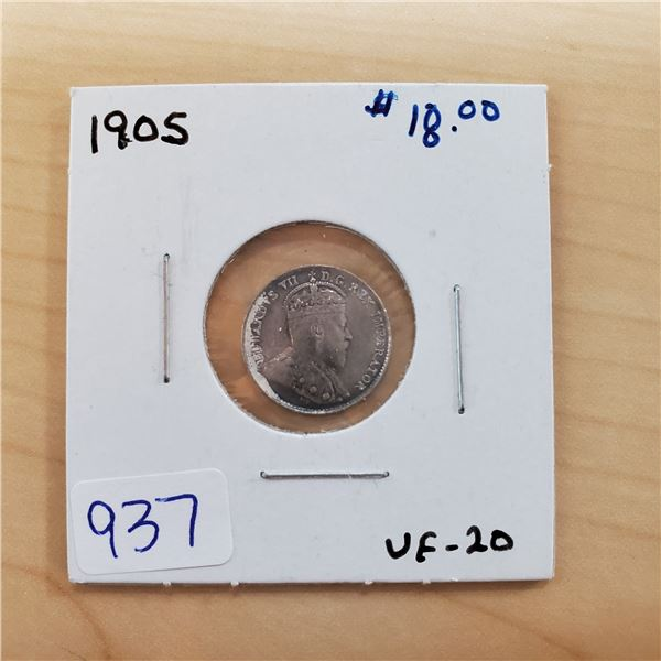 1905 canada 5 cents vf-20