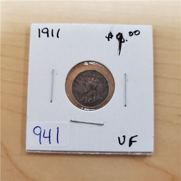 1911 canada 5 cents vf