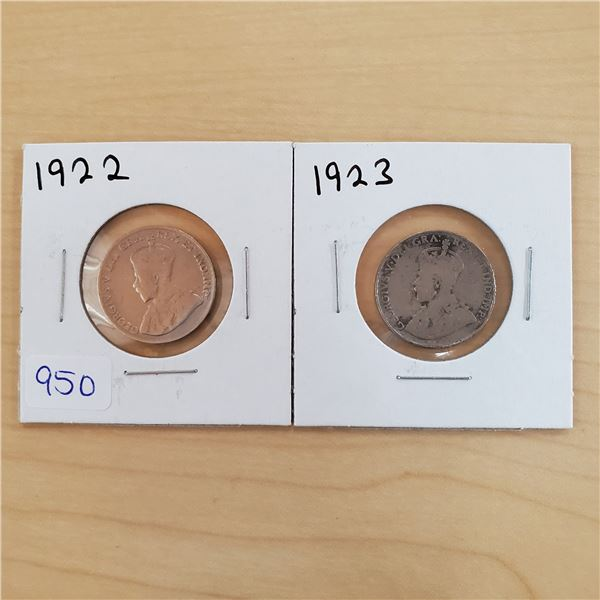 1922 + 1923 canada 5 cents