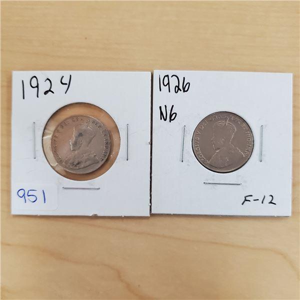 1924 + 1926 n6 f-12 canada 5 cents