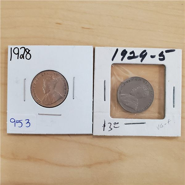 1928 + 1929 canada 5 cents