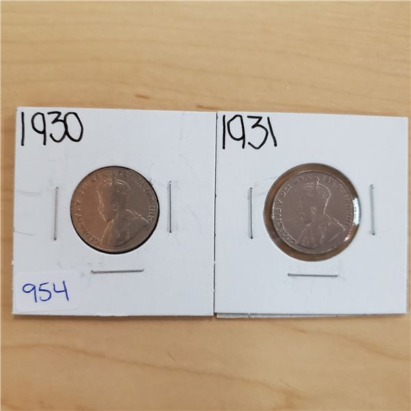 1930 + 1931 canada 5 cents