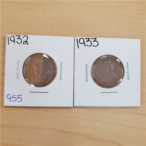 1932 + 1933 canada 5 cents