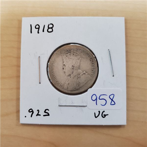 1918 canada 25 cents .925