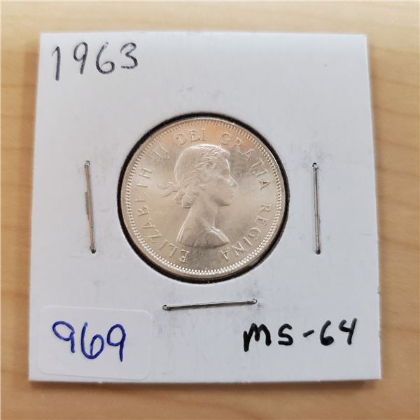 1963 canada 25 cents ms-64