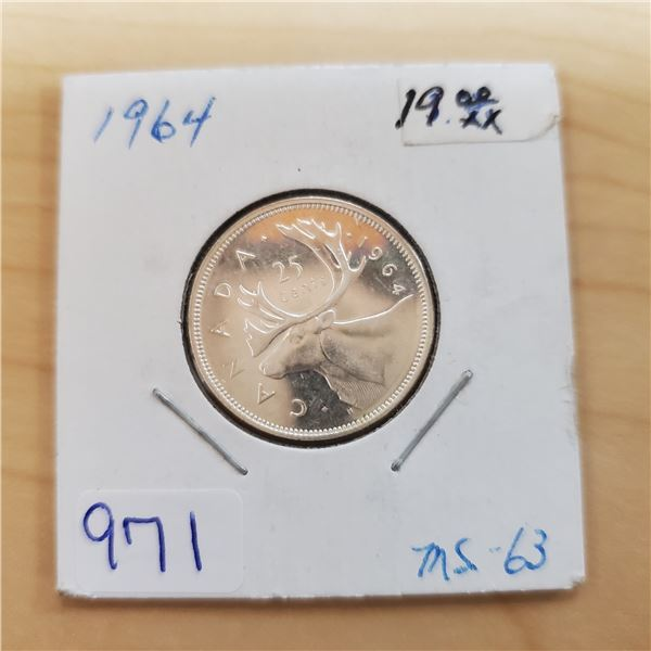 1964 canada 25 cents ms-63
