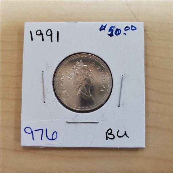 1991 canada 25 cents bu