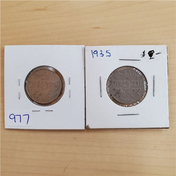 1934 + 1935 canada 5 cents
