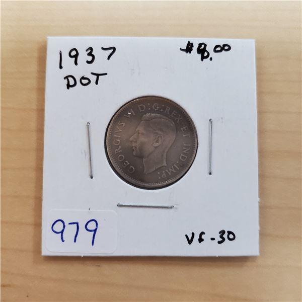 1937 dot canada 5 cents vf-30