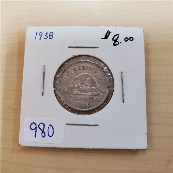 1938 canada 5 cents