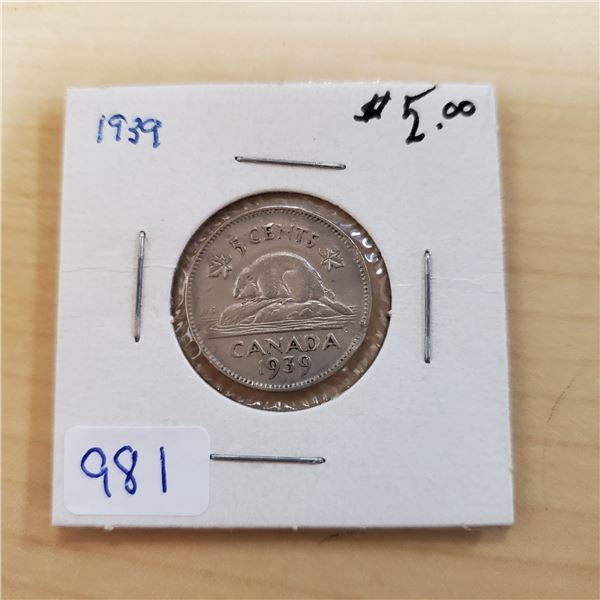1939 canada 5 cents