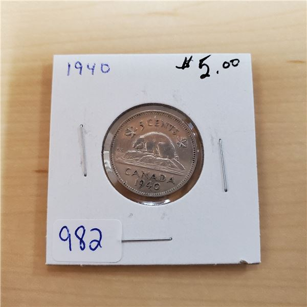 1940 canada 5 cents
