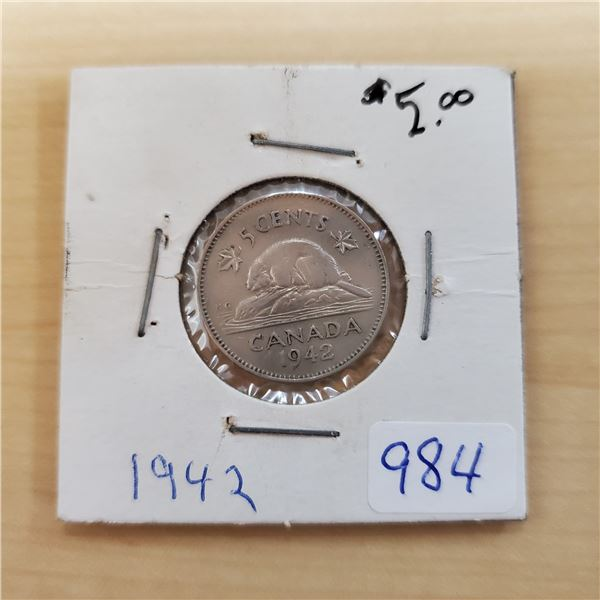1942 canada 5 cents