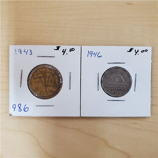1943 + 1946 canada 5 cents