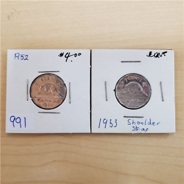 1952 + 1953 canada 5 cents