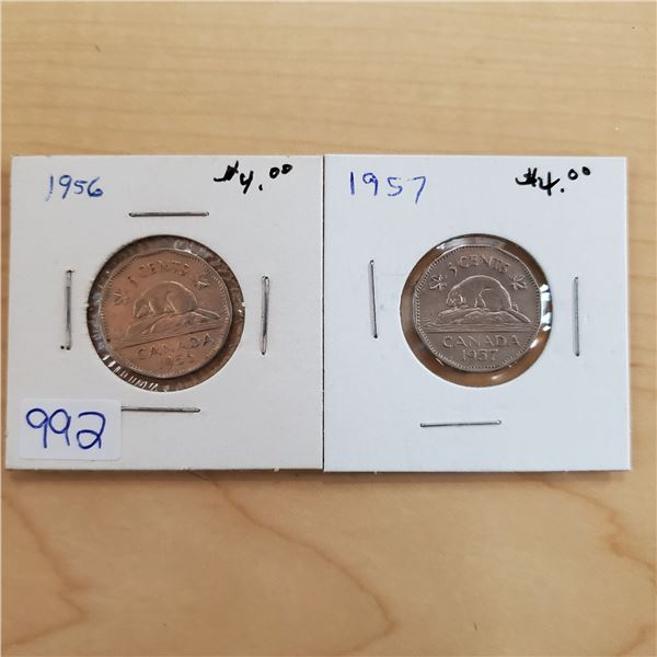 1956 + 1957 canada 5 cents