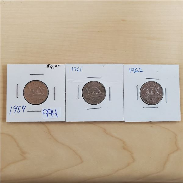 1959, 1961, 1962 canada 5 cents