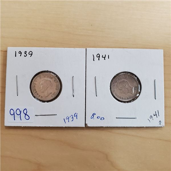 1939, 1941 canada 10 cents