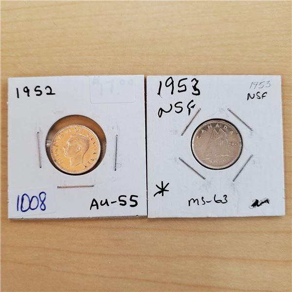 1952 au-55, 1953 nsf canada 10 cents
