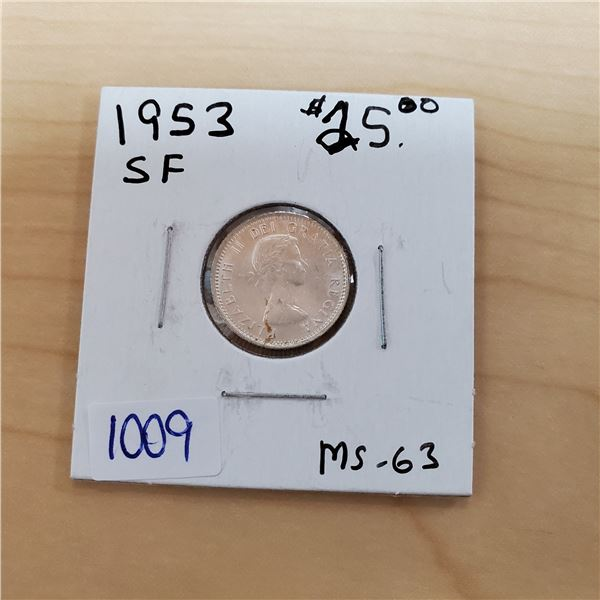 1953 sf canada 10 cents ms-63