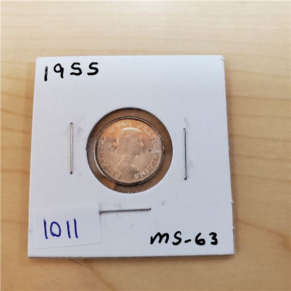 1955 canada 10 cents ms-63