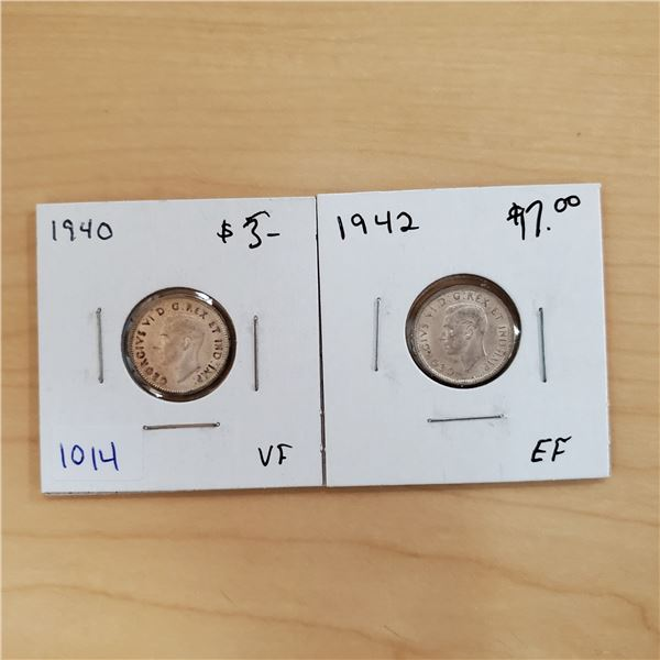 1940 + 1942 canada 10 cents