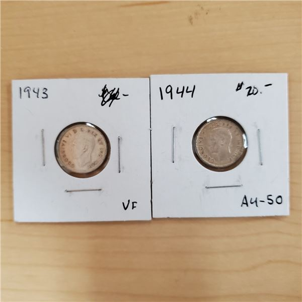 1943 + 1944 canada 10 cents
