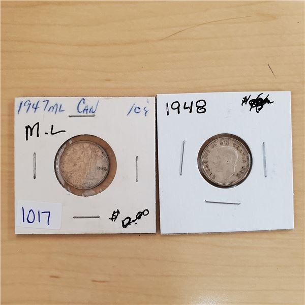 1947 ml + 1948 canada 10 cents