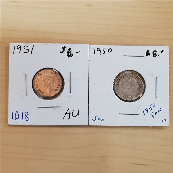 1950 + 1951 canada 10 cents