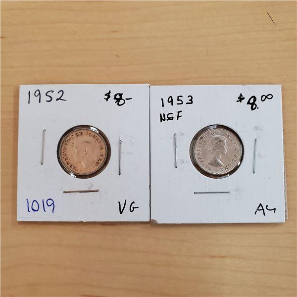 1952 + 1953 nsf canada 10 cents