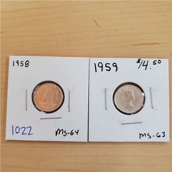 1958 ms-64 + 1959 ms-63 canada 10 cents