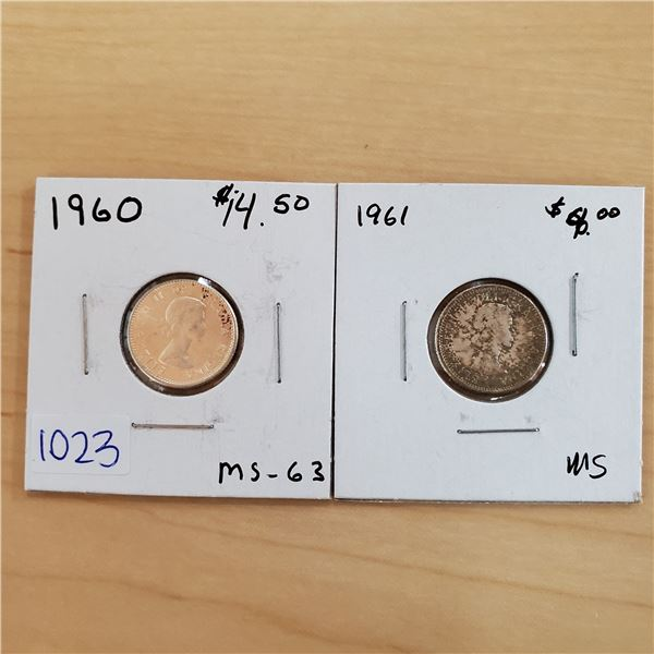 1960 ms-63 + 1961 canada 10 cents