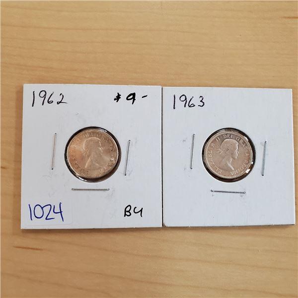 1962 bu + 1963 bu canada 10 cents