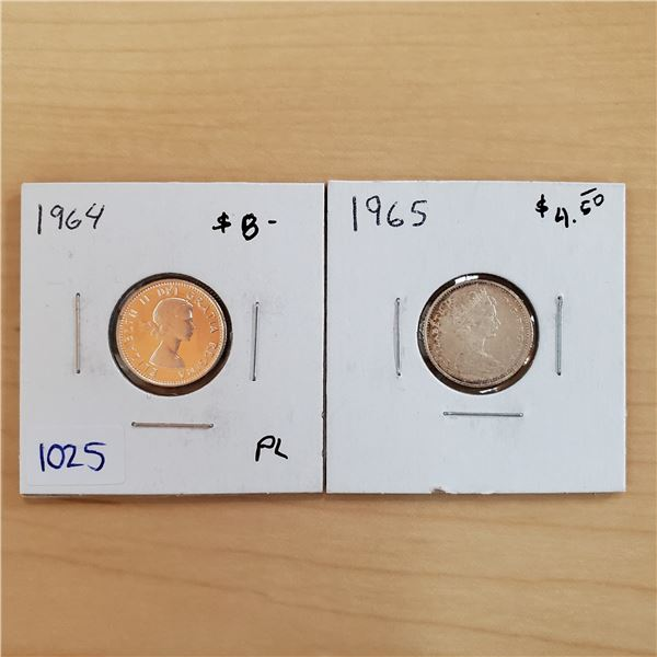 1964 pl + 1965 canada 10 cents