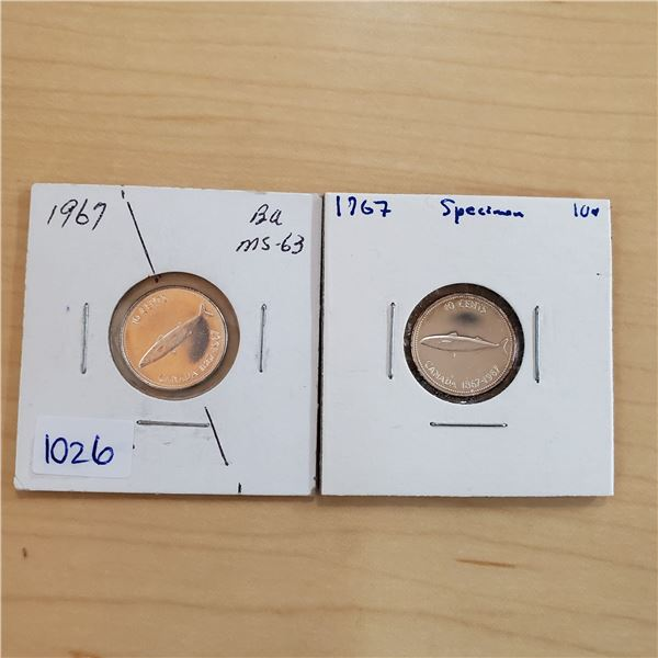 1967 ms-63 + 1967 sp canada 10 cents