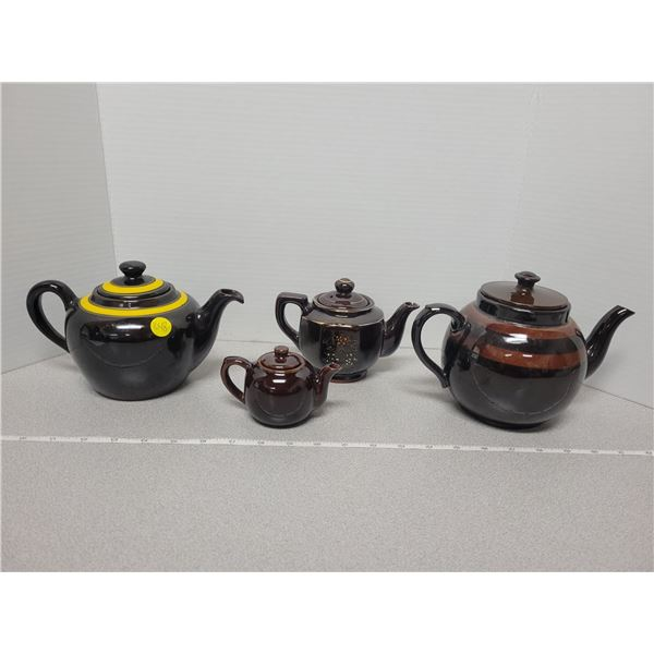 Four brown Bettys - Japan, England, Canadian Art Pottery