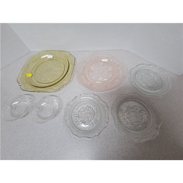 Depression glass - pink royal lace, yellow Madrid *7 pieces*