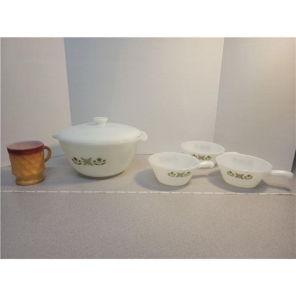 Fire King chili/soup server, 3 bowls, 1 Fire King mug
